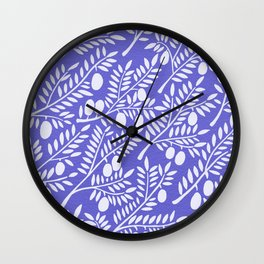 Olive Branches – Periwinkle Wall Clock