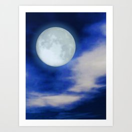 Moonscape With Moonlit Clouds Art Print