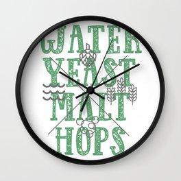 WaterYeastMaltHops Wall Clock
