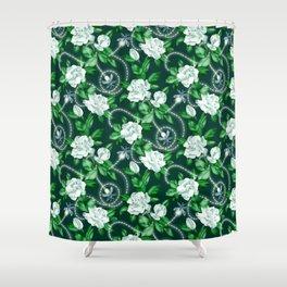 Midnight Sparkles - Gardenias and Fireflies in Emerald Green Shower Curtain