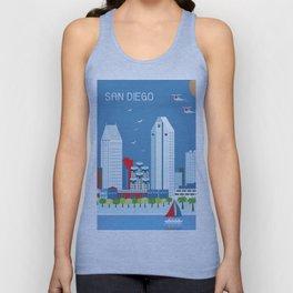 San Diego, California - Skyline Illustration by Loose Petals Unisex Tank Top