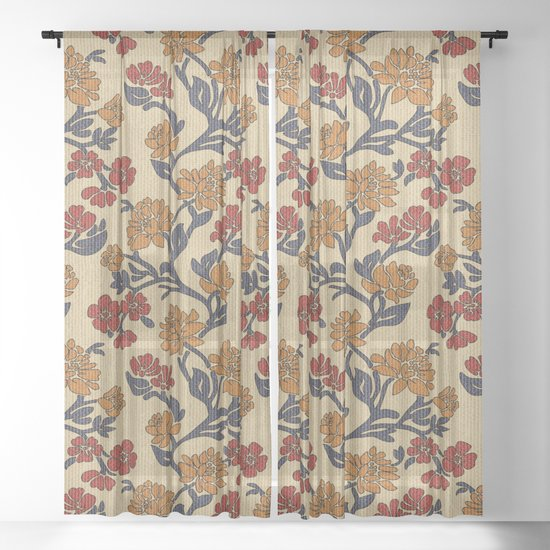 Vintage victorian floral upholstery fabric light background by danadudesign
