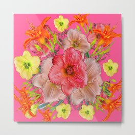 YELLOW PINK & CREAM DAYLILIES COLLAGE Metal Print