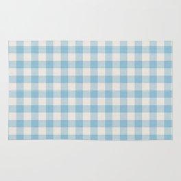 Modern 80s white pastel blue picnic print pattern Rug