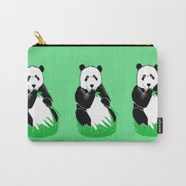 Panda Eating Bamboo Printmaking Art Carry-All Pouch