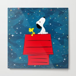 Snoopy Looking at The Stars Metal Print