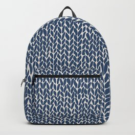 Hand Knit Navy Backpack