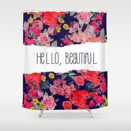 Hello, Beautiful. Vintage Floral Print with Navy Background Shower Curtain