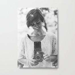 Holding a Vintage Camera Metal Print