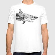 Great White Shark Mens Fitted Tee MEDIUM White