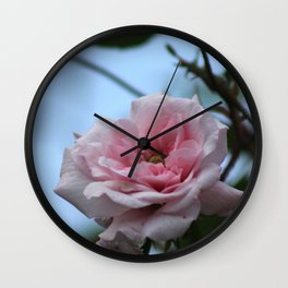 Pink Rose Flower on Branch Wall Clock
