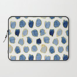 Beautiful Indigo Blue Splotches with Gold Laptop Sleeve