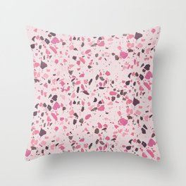Abstract modern girly pastel pink black marble Throw Pillow