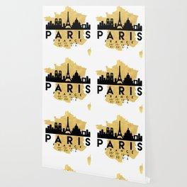 PARIS FRANCE SILHOUETTE SKYLINE MAP ART Wallpaper