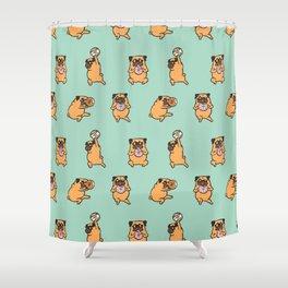 Donut Skip Legday with The Pug Shower Curtain