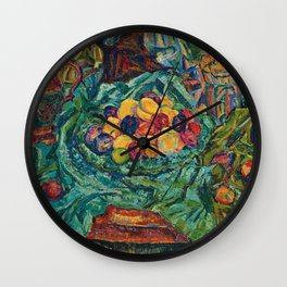 Still life with fruits, jug and small sculpture by Helene Funke Wall Clock
