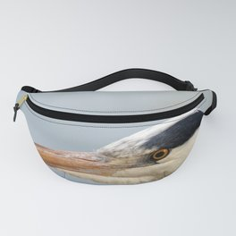 A head shot of a Grey Heron - Herons - in profile. Fanny Pack
