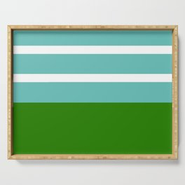 Summer Delight, teal, white and green Serving Tray