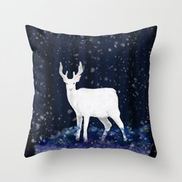 White deer in the snowy forest Throw Pillow
