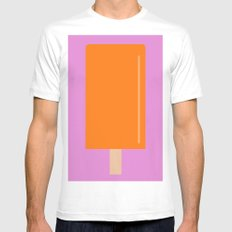 Orange Popsicle with pink background MEDIUM White Mens Fitted Tee