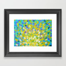SPLASH 2 - Bright Bold Ocean Waves Beach Ripple Turquoise Aqua Lime Lemon Colorful Rainbow Wow Framed Art Print