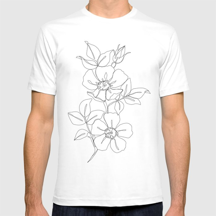 Floral One Line Drawing Rose T Shirt By Thecolourstudy Society6