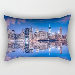 New York skyline at night Rectangular Pillow