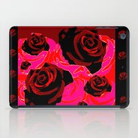 50s iPad Cases featuring 50s ROSES BLACK PRINT by Marmalademudpie and Me