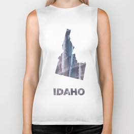 Idaho map outline Slate gray blurred wash drawing design Biker Tank