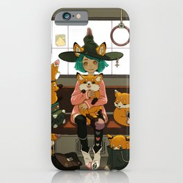 Witch and the magic foxes   iPhone Case