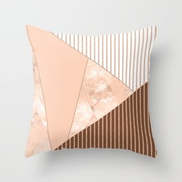 Valencia 2. Abstract Beige, white, brown geometric pattern. Throw Pillow