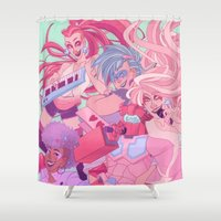jem Shower Curtains featuring rosanna and the holograms by Cori Walters