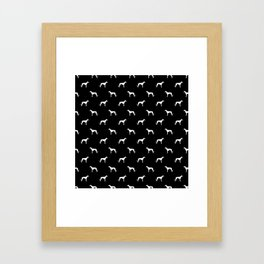 Greyhound black and white minimal dog silhouette dog breed pattern Framed Art Print