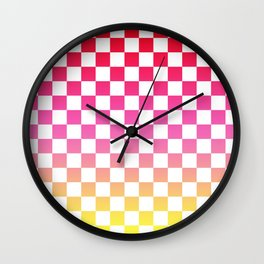 Pink Yellow Checkerboard Gradient Wall Clock