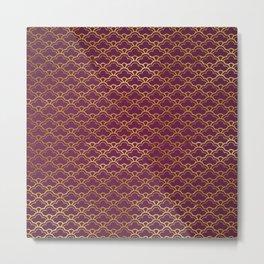 Fuchsia Golden Scalloped Metal Print