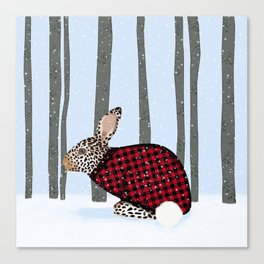 Rabbit Wintery Holiday Design Canvas Print