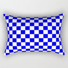 Small Checkered - White and Blue Rectangular Pillow