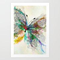 butterfly Art Prints featuring Butterfly by Klara Acel