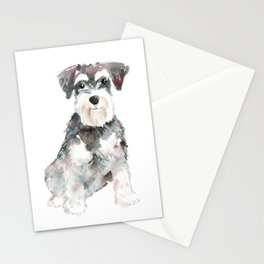 Miniature Schnauzer dog watercolors illustration Stationery Cards