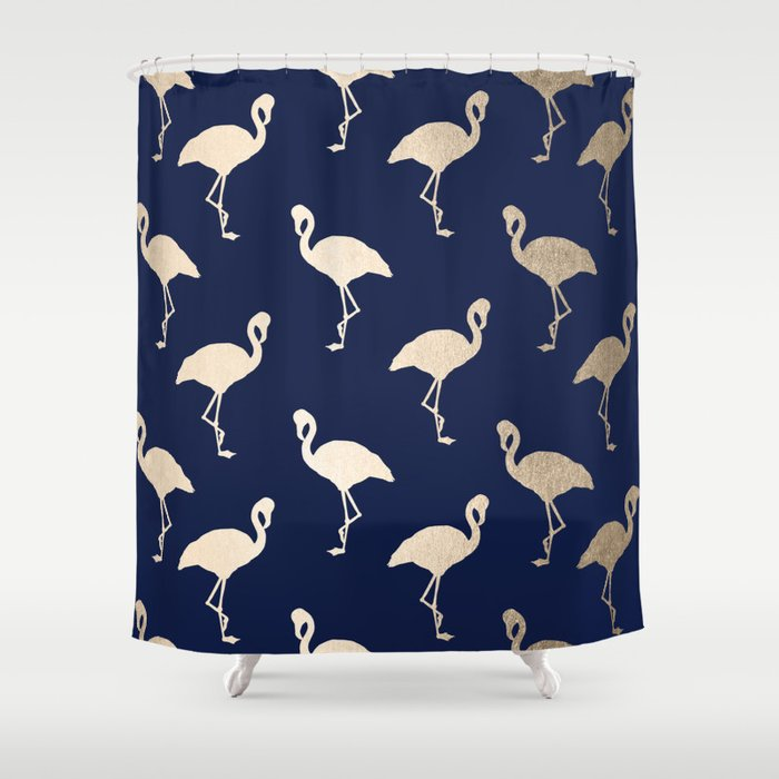 Gold Flamingo Pattern Navy Blue Shower Curtain By Followmeinstead