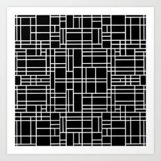 Map Outline White on Black Art Print