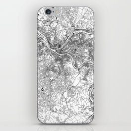 Pittsburgh White Map iPhone Skin