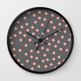 Simply Dots Salmon Pink on Storm Gray Wall Clock