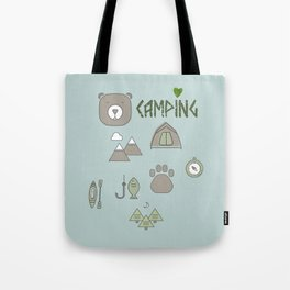 Camping Collage with Bear Tent Mountains and More Tote Bag