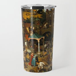 Pieter Bruegel the Elder Netherlandish Proverbs Painting Travel Mug