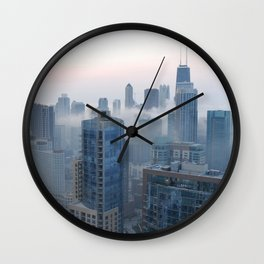 Fog over Chicago Wall Clock