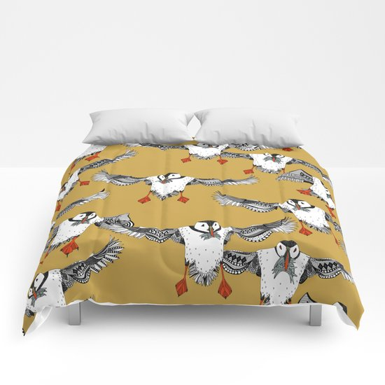 Atlantic Puffins gold Comforters