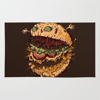 burger Area & Throw Rugs featuring Monster Burger by Letter_q