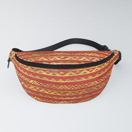 Geometric Lines Tribal  gold on red leather Fanny Pack