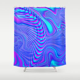 GLITCH MOTION WATERCOLOR OIL Shower Curtain